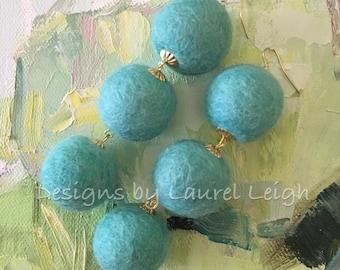 SALE | Pom Pom Earrings | AQUA, TURQUOISE, gold, dangle, pompom, bonbon, bonbon earrings