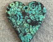 Shabby Chic Teal and Black Heart Shaped Polymer Clay Pendant