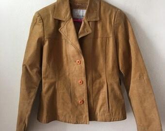 Casual women's jacket from real leather soft leather short jacket handmade jacket vintage style steep jacket yellow jacket has size-medium.