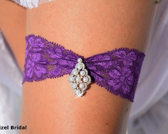 Wedding Garter, Purple Garter, Wedding Garter Set, Garters, Purple Lace Garter, Rhinestone Garter, Keepsake Wedding Garters, Bridal Garter