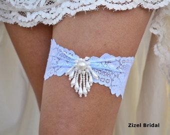 Wedding Garter Blue, Bridal Garters, Light Blue Garter, Lace Garter Blue, Pearl Bridal Garter, Blue Garter, Lace Garter Set, Something Blue