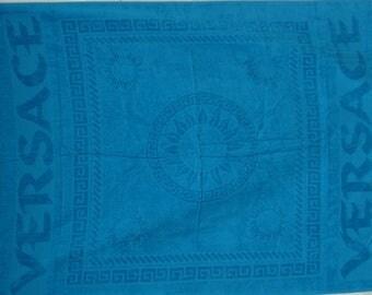 Versace Vintage Sea Blue Towel - Rare - Versace Assciugamano