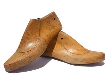 Wooden shoes form wooden shoe lasts wooden shoe mold shoemaker forms cobbler molds women lasts  rustic pair of 2/008