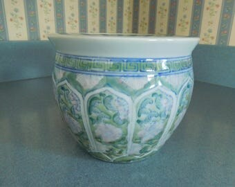 Vintage Ceramic Glazed Planter in Green with Blue Accents