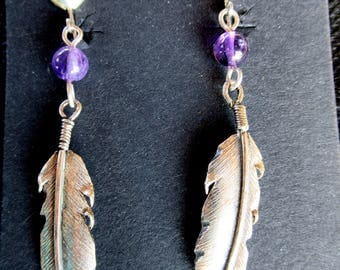 Clip-on Silver Feather Earrings with Amethyst