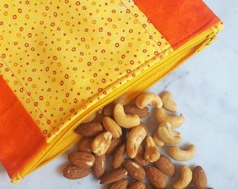 "Reusable Snack Bag - Make-up Bag - Toiletries Bag - Eco Friendly Lunch Bag - Reusable Sandwich Bag - Fabric Zipper Bag - 7 3/4"" x 7"""