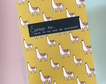 Llama Patterned A5 Notebook