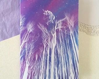 Unicorn notebook / Forest notebook / Aurora northern lights artwork / sketchbook / stationary / A5 notebook
