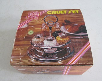 Vintage Glass Cruet Set New In Box