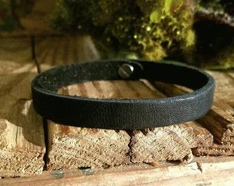 """Men's Black Leather Bracelet, Women's Slimline Black Leather Bracelets 1/4""""W Semi-flex,  Minimalist Style Brown Leather Bracelet Custom Made"""