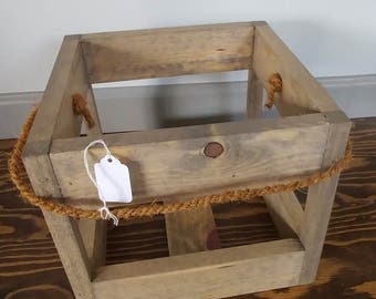 Wooden Crate W/Jute Rope Handle
