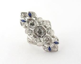 Vintage Platinum Diamond and Sapphire Dinner Ring #335