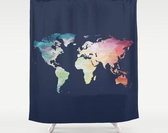 World Map Shower Curtain, Navy Shower Curtain, Map Bath Decor, Painted Map Shower Curtain, Blue Bathroom Accessories, Wanderlust Bathroom