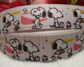 """3 yards 1"""" Snoopy Grosgrain Printed Ribbon"""