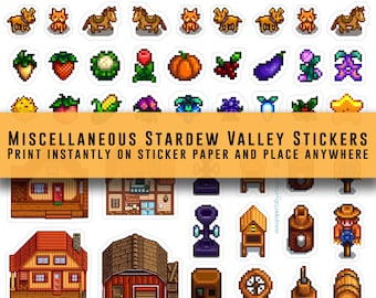 Stardew Valley, stickers, animals, crops, farm, video game stickers, Character Stickers