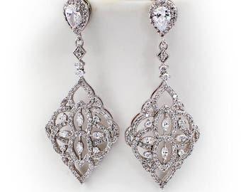 Wedding Earrings Platinum plated Zirconia Earrings Wedding Jewelry Bridal Earrings Bridesmaid Gift Wedding Jewelry Teardrop CZ Earrings Qui