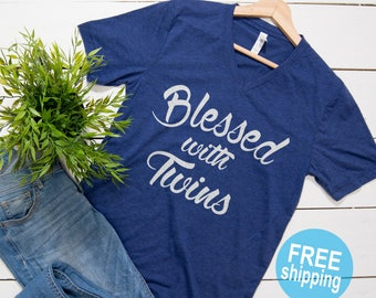 Mom of Twins, Mom of Twins tshirt,Blessed mama,Twin Mama, Mom of Boys tee, Mom of Girls, gifts for mom,Pregnancy announcement,