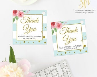 Party Favor Tags, Thank You Tags, Gift Tags, Pink Roses, Blue Stripes, Gold Confetti, Blue and Gold, Printable Favor Tags, SH21 SH10 SH25