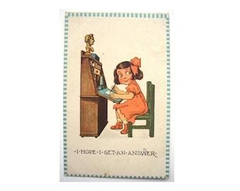 RARE Vintage Painted Postcard Circa 1910s Bernhardt Wall Cute Children Girl Comic Barton and Spooner USA Unique Unusual Coloured S-103