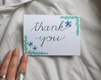 Calligraphy Thank You Card and Envelope