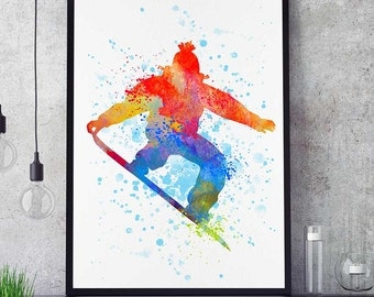 Snowboard Decor, Sports Poster, Watercolor Print, Snowboarder Wall Art, Birthday Gift, Kids Room (N015)