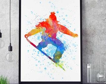 Snowboard Decor, Sports Poster, Watercolor Print, Snowboarder Wall Art, Birthday Gift, Kids Room (N015)