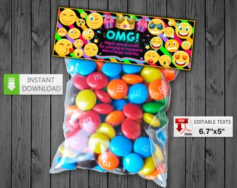 Emoji Treat Bag Toppers party, Emoticons candy Bag Topper,  Birthday Candy Bags, Smile bag toppers party favor, Chalkboard Candy topper