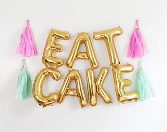 "EAT CAKE Letter Balloons | 16"" Gold Letter Balloons 
