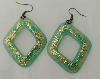 Blue and Gold Diamond hoop dangle earrings