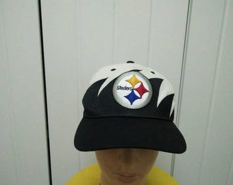 Rare Vintage PITTSBURGH STEELERS Sharks Teeth Cap Hat Free size fit all