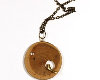 Wooden Necklace With Brass Bird, Natural Jewelry, Wooden Jewelry, Unique Necklace