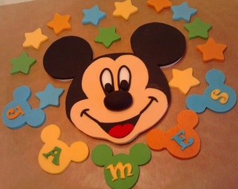 Handmade Mickey Mouse with numbers letters and stars cake toppers edible,shipping from UK
