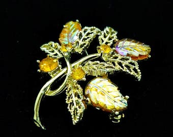 Vintage Gold Rhinestone Leaf Brooch, Gold Leaf Brooch, Rhinestone Leaf Brooch, Costume Jewelry, Antique Brooches, Vintage Brooches, Leaf Pin