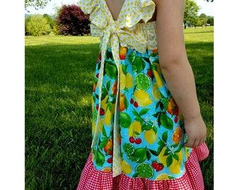 Toddler Dress, Summer Dress, Flutter Sleeves, Cherries Lemons Strawberries