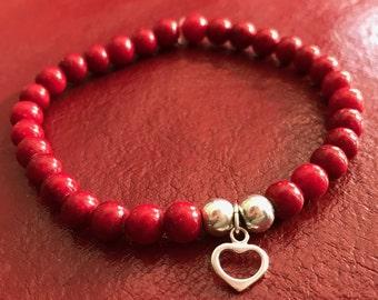 Bracelet rouge de pierres semi précieuses, avec argent 9.25