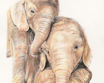 Baby Elephants Giclee Print Fine Art Print