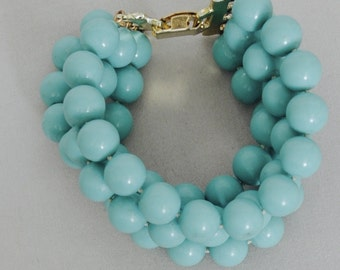 Vintage Turquoise Looking Beaded Bracelet, Knotted in-between, circa 1950's