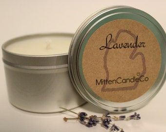 Lavender Scented Soy Candle Tin or Wax Melt - Calming - Spring & Summer Fresh Scent - 4 or 8 ounce