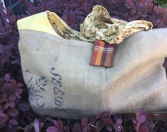 Burlap Pioneer Bag, Oregon Trail Bag, Diaper Bag, Cross Body Bag, Adjustable Cross Body Bag
