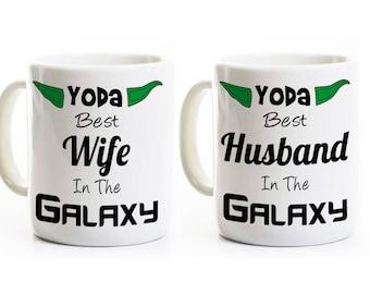Funny Wedding Anniversary Gift Coffee Mugs - Yoda Best Husband and Wife Mugs - Set of Two Mugs - 11 or 15 Oz.