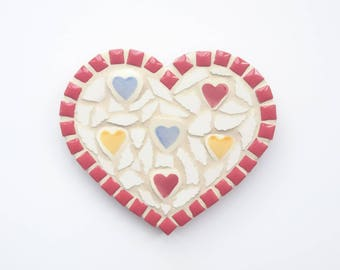 Red mosaic heart, Mosaic heart, Mosaic wall art, Wall hanging, Mosaic, Anniversary present, Gift for her, Birthday present, Love You gift