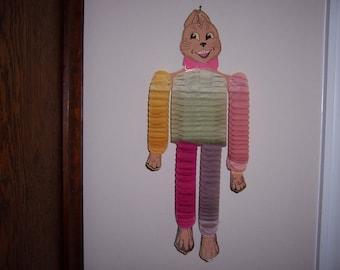 Vintage Beistle Easter Bunny, Fold-Up, Honeycomb, Rabbit, Hanging, 1930's, 1940's, Cardboard