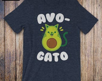 Funny Avocado Shirt - Cinco de Mayo Shirt, Avo Gato, Cat lover shirt, Avocado Lover shirt, Funny Food gift, Guac Is Life, Holy Guacamole