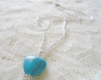 Heart Turquoise pendant necklace, Turquoise silver chain necklace
