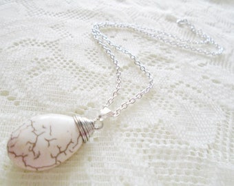 Howlite silver chain pendant necklace, Gemstone necklace