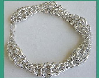 Sterling Silver Full Persian Variable ring size bracelet. 7 inches.chain maille. chain mail. Custom