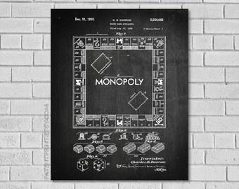 Monopoly Decor - Monopoly Art - Monopoly Game - Game Art - Game Blueprint - Game Decor - Monopoly Blueprint - Monopoly Patent Print - EG082
