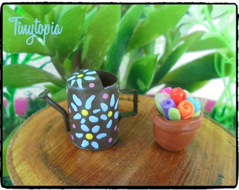 Miniature Watering Can with Flower Pot