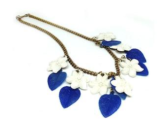 Vintage 1950's Necklace | Vintage Necklace | Blue Necklace | White Necklace | Flower Necklace | Statement Necklace | Floral Necklace