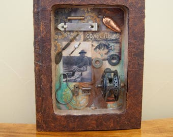 Assemblage Book Art - Found Object Art - Vintage - Fishing